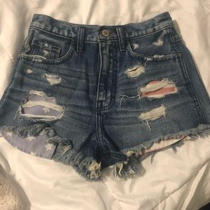 Hollister High Waisted Patriotic Shorts